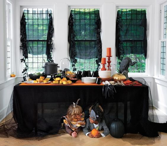 Ideas for setting a Halloween buffet table.
