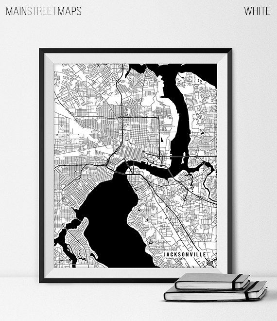 Jacksonville Map Art Print Jacksonville City Map by MainStreetMaps