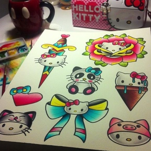 Hello Kitty old school tattoo flash