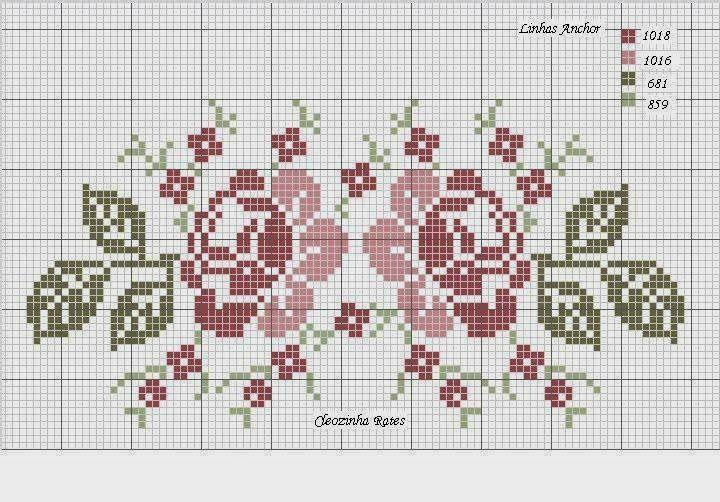 gráfico ponto cruz de flores para toalha de lavabo - Pesquisa Google