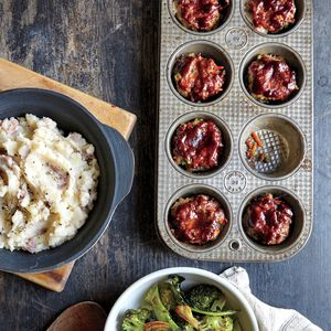 Cooking Light December 2015, Page 40 | Mini BBQ Meat Loaves with Smashed Blue Cheese Potatoes  | MyRecipes.com