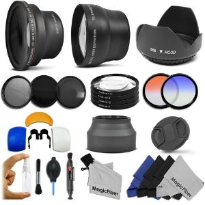 Best Buy Essential Kit for CANON REBEL (T3i T3 T2i T2 T1i XTi XT XSi XS), CANON EOS (1100D 600D 550D 500D 450D 400D 350D 300D) Includes: 58mm .43x Super Wide Angle  2.2x Telephoto High Definition Lenses + Filter Kit (UV, CPL, ND8) + Macro Close Up Set + Collapsible Lens Hood + Tulip Flower Lens Hood + Center Pinch Lens Cap + 2 Graduated Color Filters (Orange, Blue) + Flash Diffuser Set + Lens Cleaning Pen + Deluxe Cleaning Kit + 4 MagicFiber Microfiber Cleaning Cloths REVIEW
