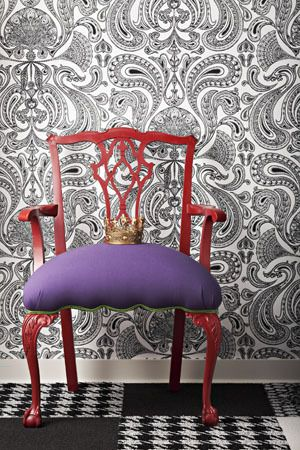 Love the contemporary chair, the colours and the wallpaper. Malabar wallpaper in black and white by Cole & Son.