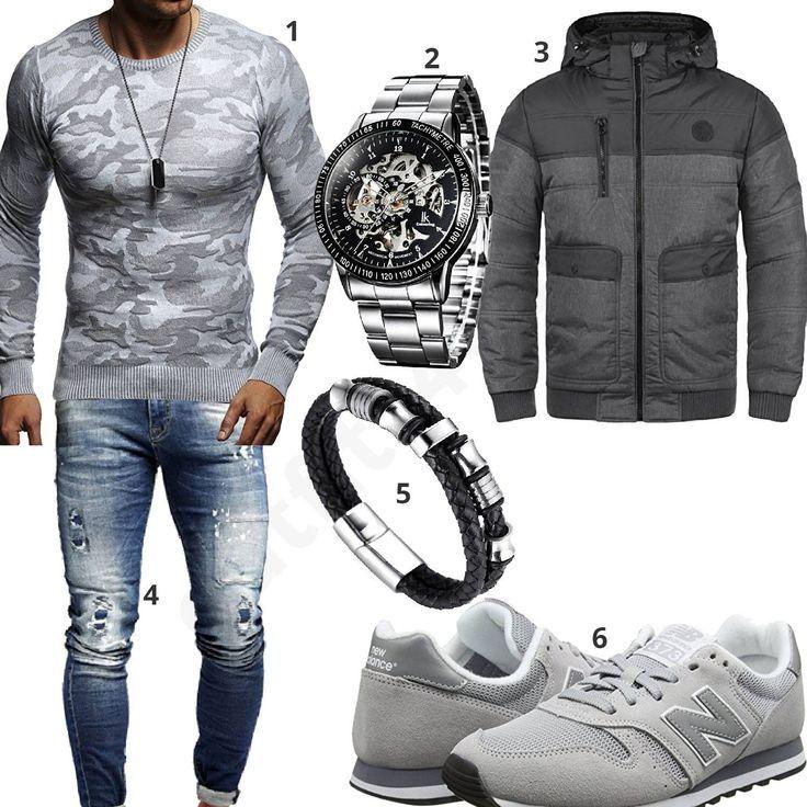 Herren Style mit Camouflage Pullover, Steppjacke und Uhr