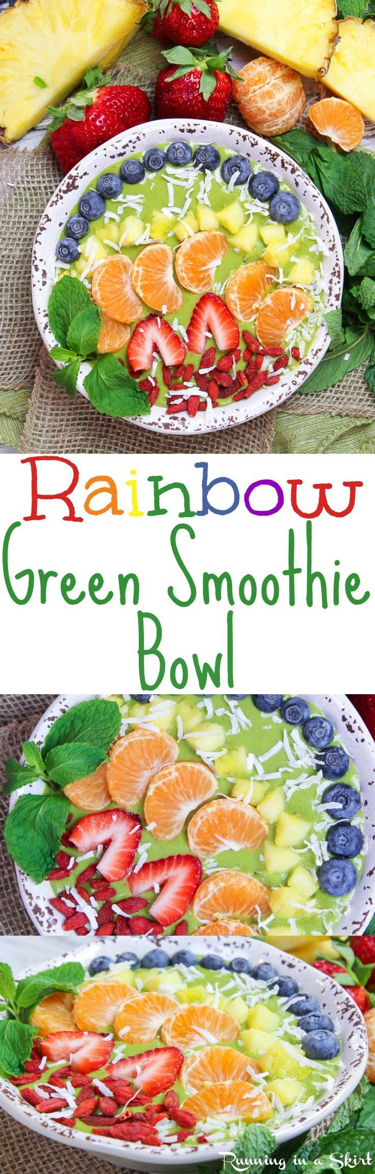 Rainbow Green Smoothie Bowl recipe. This healthy, vegan, easy breakfast uses mango plus spinach or kale! The fruit and berries toppings make the rainbow. Includes frozen banana but there is also a no banana option. Raw Vegan, Vegetarian, Clean Eating, Gluten Free & Dairy Free / Running in a Skirt