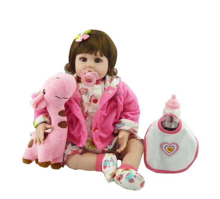 "(76.00$)  Buy here  - ""20"""" New Silicone vinyl adora Lifelike toddler Baby Bonecas girl kid doll bebe reborn menina de silicone toys for children"""
