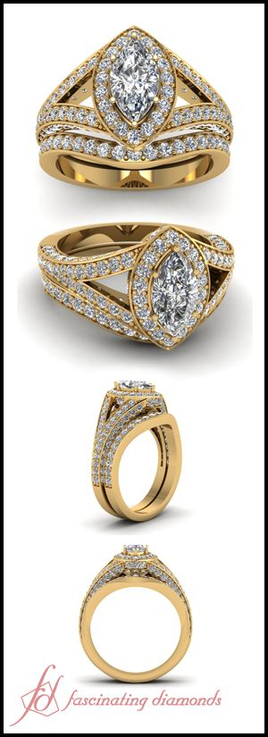 Marquise Shaped and Round Diamond 14K Yellow Gold Wedding Ring Set In Pave Setting || Marcasite Split Halo Set LBV