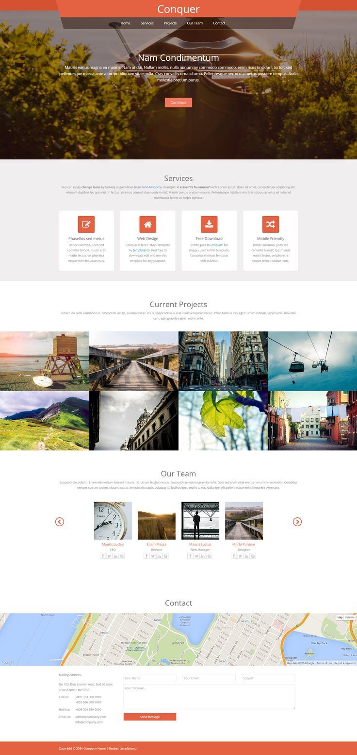 Conquer is free responsive template with Bootstrap v3.1.1 and it is a one-page HTML5 parallax layout. Gallery section is included with a responsive image lightbox. #HTML5 #FreeTemplate