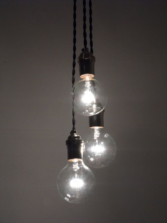 3 cluster color choices industrial pendant lighting for Industrial bulb pendant
