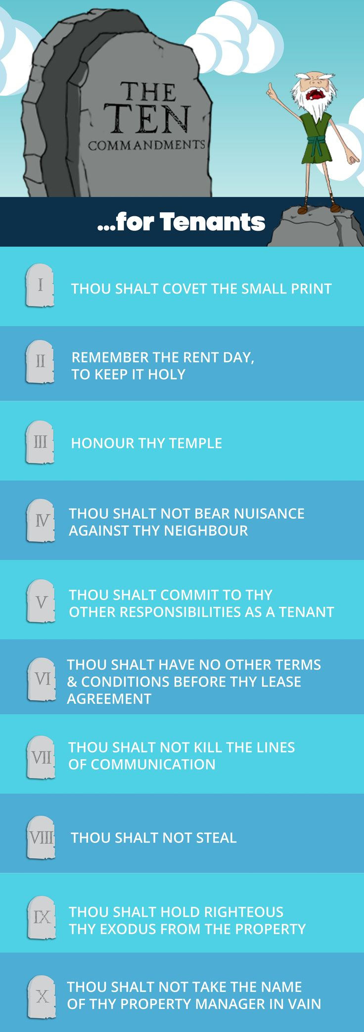 The Ten Commandments for Tenants  Read our Ten Commandments for Tenants to help forge a divine relationship with your property manager! And Perfect Homes spoke all these words, saying.  https://perfecthomes.co.th/ten-commandments-tenants/