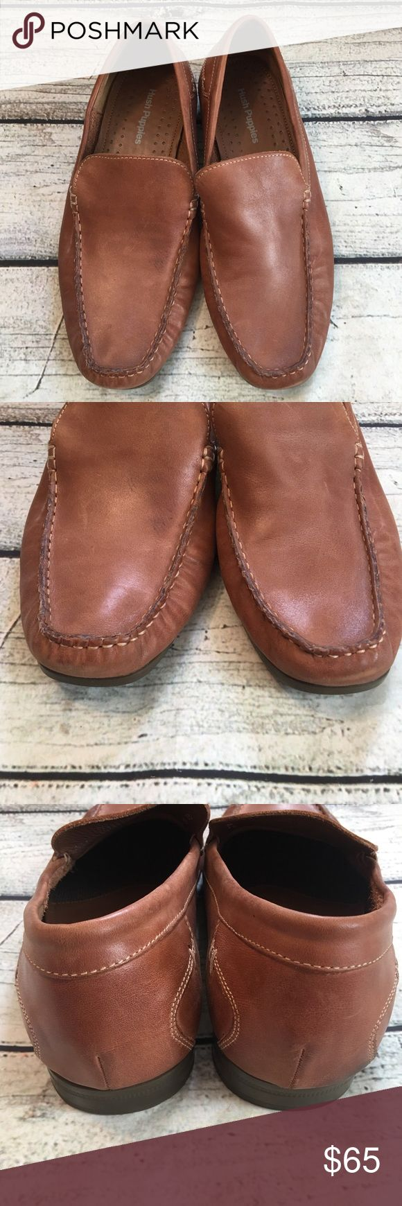 Hush Puppies HPO2 flex brown loafers slide on 9.5W Preowned men's Hush Puppies HPO2 flex brown leather loafers slide on shoes size 9.5 Wide has scuffs distress look see all pictures. Hush Puppies Shoes Loafers & Slip-Ons