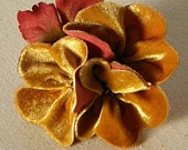 Gold Velvet Corsage Brooch by Suzanne Woods