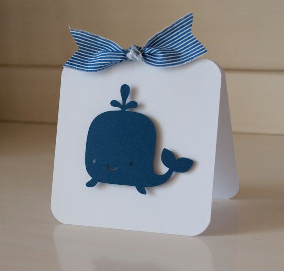Whale Boy Baby Shower Thank You Cards by CardinalBoutique on Etsy, $74.00
