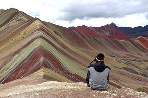 Foto no trekking ao Cerro de Colores (ou Rainbow Mountains), a montanha colorida perto de Cusco, no Peru.  Post: Mochilão no Peru: Dia 21 | Diário de Bordo
