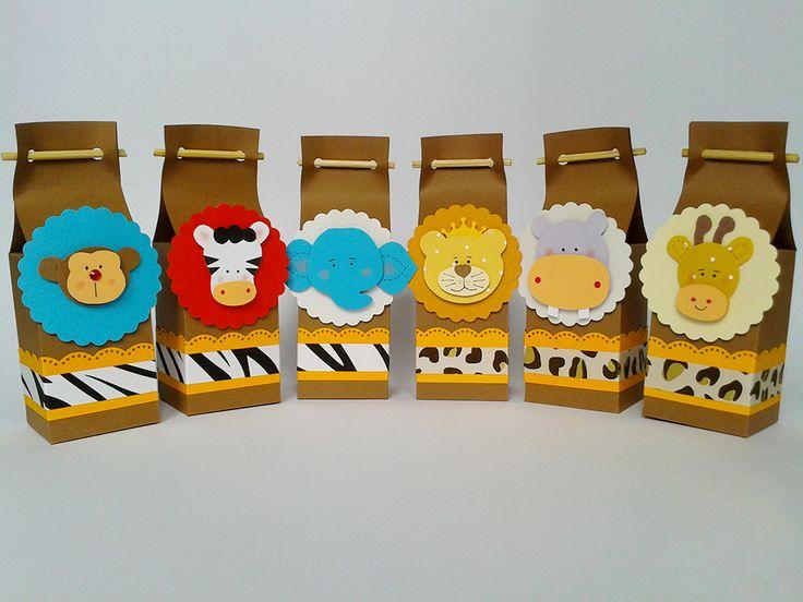A festa Safári ficará ainda mais divertida com estas lindas caixinhas para lembrancinha. A bicharada vai deixar a sua festa cheia de alegria. Festa Safári - Festa Zoológico - Festa na Floresta