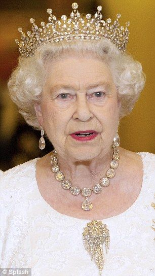 Her Majesty Queen Elizabeth II wearing the Girls Of Great Britain Tiara and Coronation Set at a state banquet at Buckingham Palace, 2011