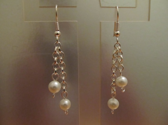 White Dangle Pearls by AccessoriesByAngie on Etsy, $3.00