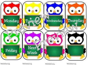 days of the week labels pdf