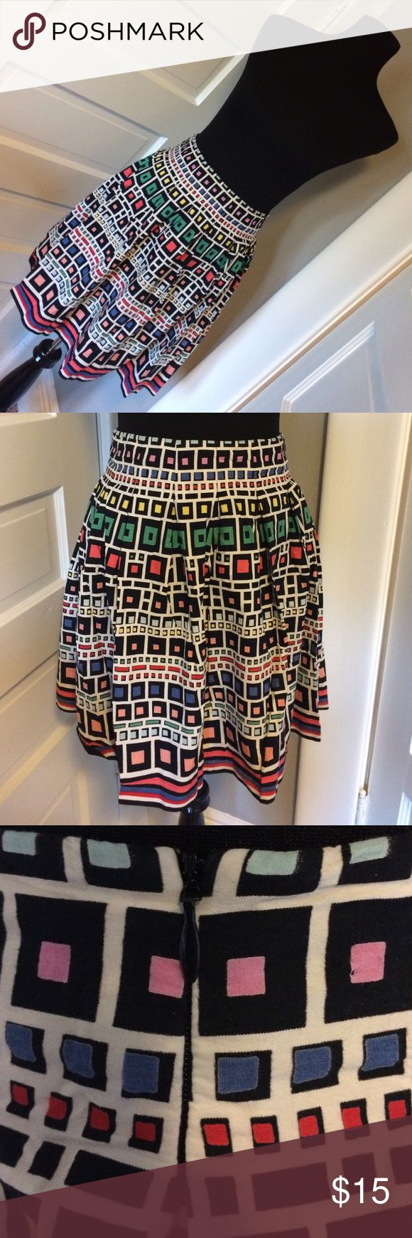 "Fun French Connection Skirt Super fun geometric shape skirt. Gently used. Measures 13"" across waist. French Connection Skirts"