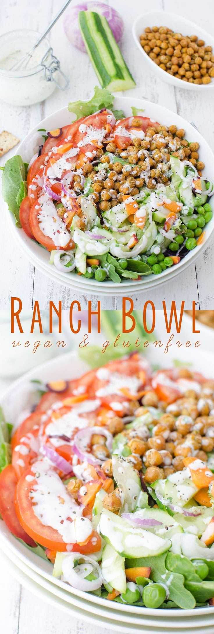 Vegan and Gluten Free Ranch Bowls! These salads bowls are packed with vegetables and ranch roasted chickpeas! 250 calories, 11g fiber, 12g protein.   www.delishknowledge.com
