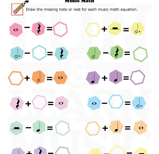 ¿Qué os parece? Matemáticas en Educación Musical http://funandlearnmusic.com/portfolio-item/music-worksheets-music-and-math-14/