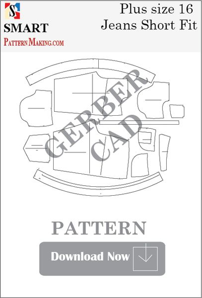 Gerber/CAD Plus Size Short Fit Jeans Sewing Pattern
