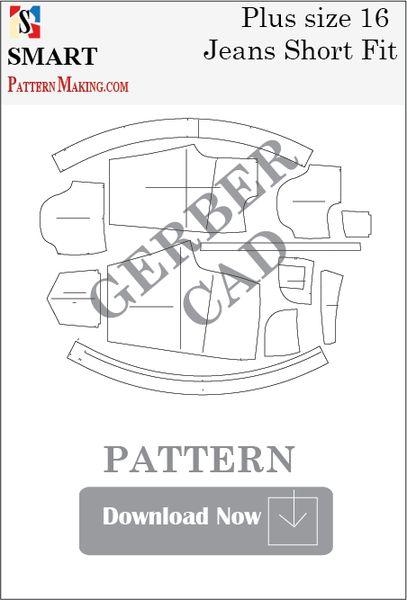 Gerber/CAD Plus Size Short Fit Jeans Sewing Pattern