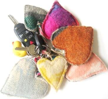 heart key chain out of woollen blanket