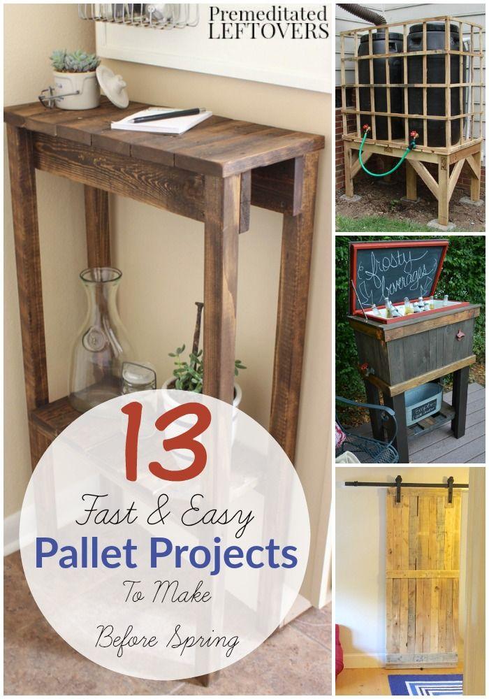 13 Eenvoudige doe Pallet Projects- Deze 13 gemakkelijk gebouw tutorials gebruiken gerecyclede pallets.  Pallet hout is zuinig en geeft een mooi verweerde uitstraling aan uw projecten.