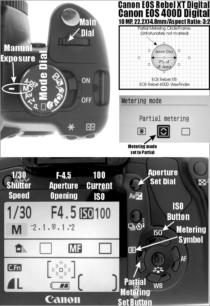 Canon Rebel XTi (400D) Partial Metering: Diagram