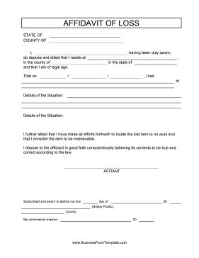 This free, printable affidavit of loss can be used by public notaries and victims of theft and fraud. Free to download and print