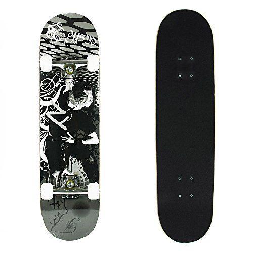 [ Black Friday Sales:50% Off ] Senmi 7 Plies d'érable Skateboard Planche à Roulette pour Débutant / Intermédiaire Noir Athlète Avec Sac de…
