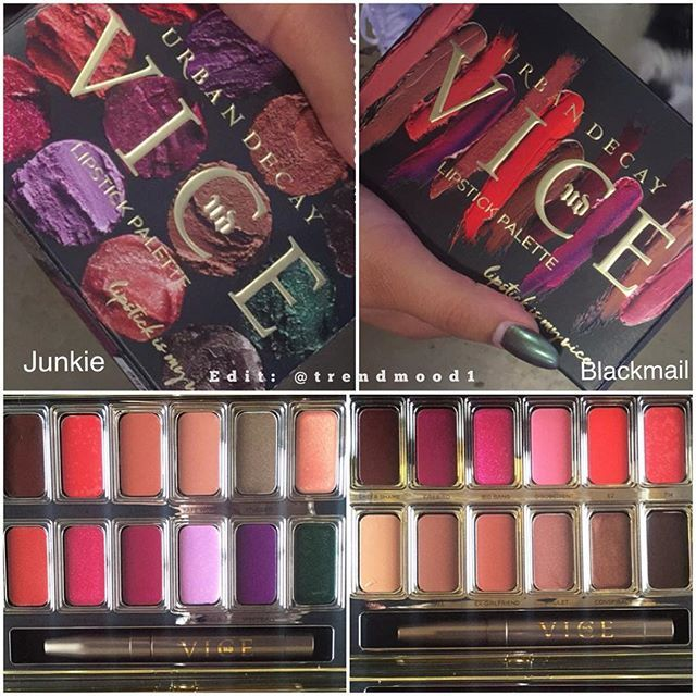 "I WANT BOTH!!!!! Urban Decay Vice Lipstick Palettes. ""Junkie"" and ""Blackmail""."