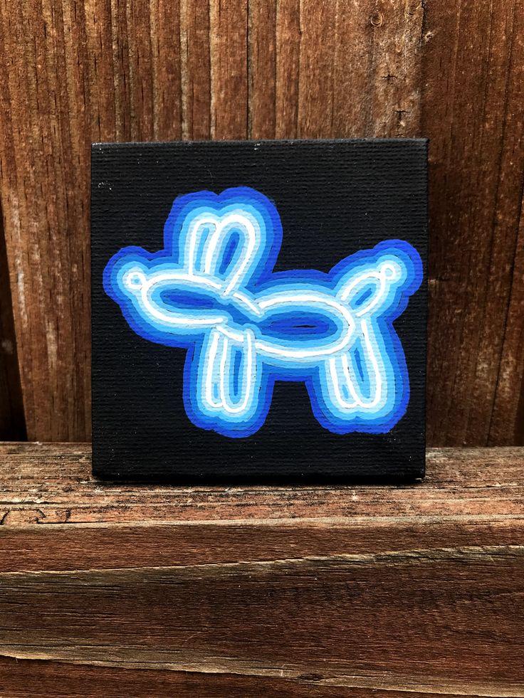Neon Sign Balloon Animal Mini Canvas Painting in 2020