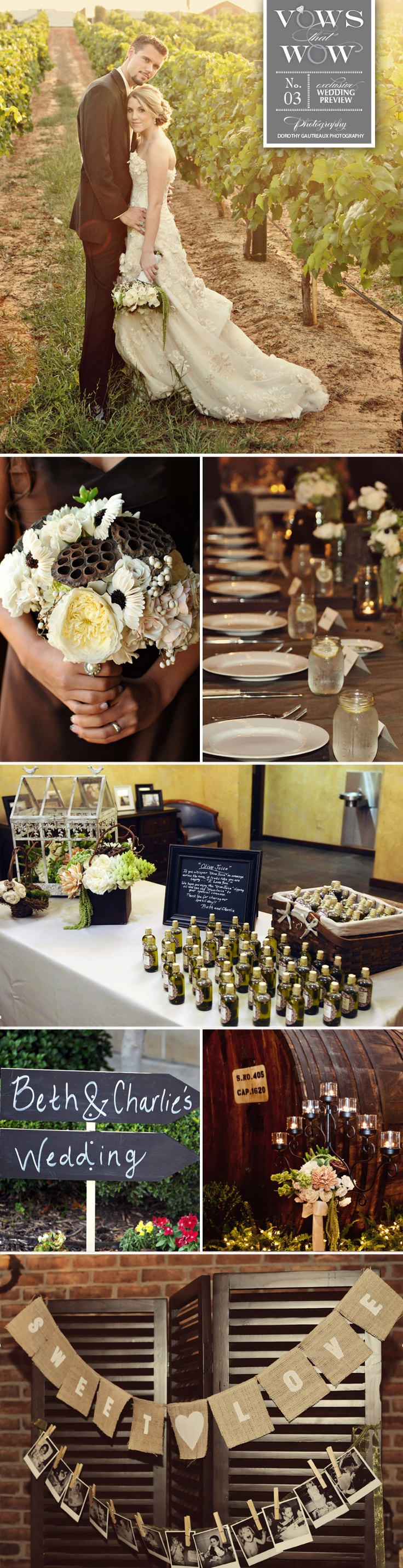 Amazing vineyard wedding planned by Significant Events of Texas. Gorgeous florals from Lush Couture Floral!   Photos by Dorothy Gautreaux Photography  #vineyard #wedding