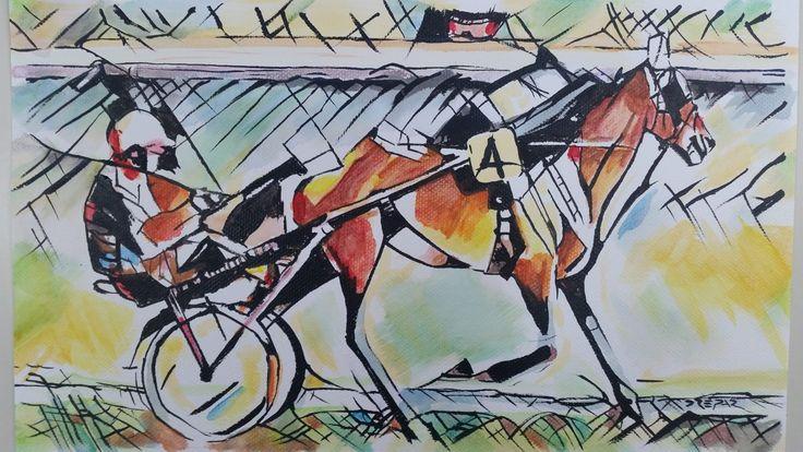 Mi ha sempre affascinato l'ambiente delle corse di cavalli, l'ippodromo e i suoi colori. Provo un po' a divertirmi con una corsa di trotto. Titolo: Horse racing Tecnica: acrilico Materiale: tela libera Dimensioni: 29 x 21cm Anno: 2017   #acrilic #art #arte #artforsale #artseller #artworks #beauty #canvas #cavallo #city #derby #dipinto #drepar #driver #espressionismo #expressionism #giallo #horse #horseracing #icona #info #investment #ippodromo #jockey #landscape #l