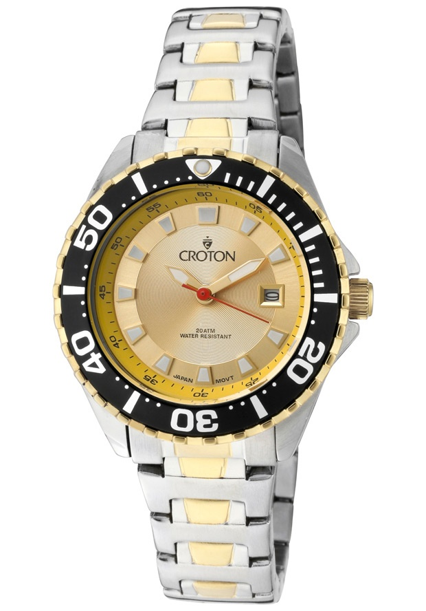 Price:$72.20 #watches Croton CA201228TTYL, Women's two tone stainless steel sports watch with luminous hands and markers.