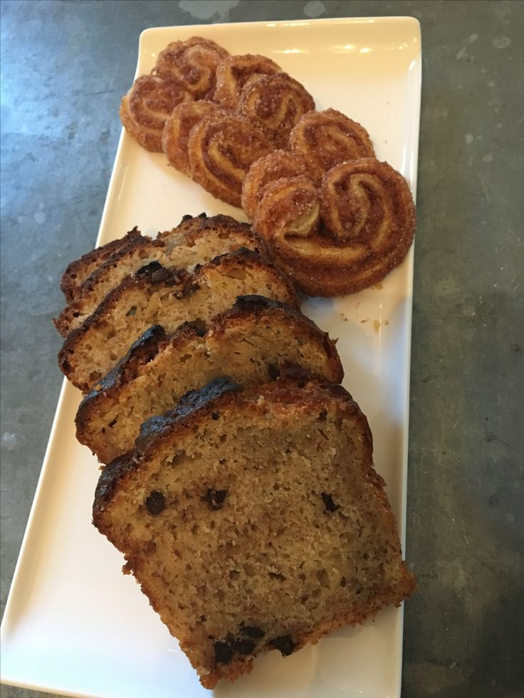Chocolate chips Banana Bread and Cinnamon Palmier, both home made!