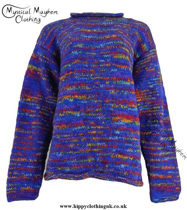 Gringo Blue Multicoloured Nepalese Wool Jumper