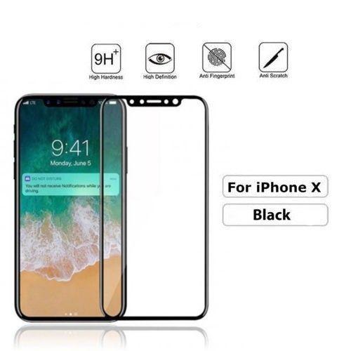 iPhone X Premium Tempered Glass Screen Protector - Full Coverage - 9H - Black UK
