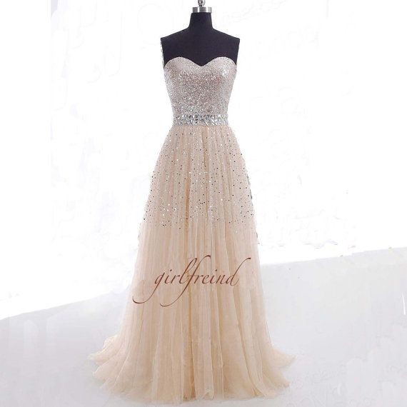 Gorgeous sweetheart sequins tulle prom dress / evening dresses