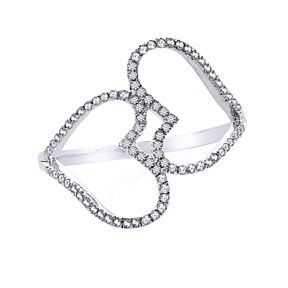 1/4 Ct Natural Diamond Heart Promise Ring In 10K White Gold # With Free Stud Earrings by JewelryHub on Opensky