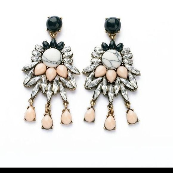 Chandelier statement earrings Beautiful as seen above, lightweight, never worn and about a three inch drop. Pierced posts. None Jewelry Earrings