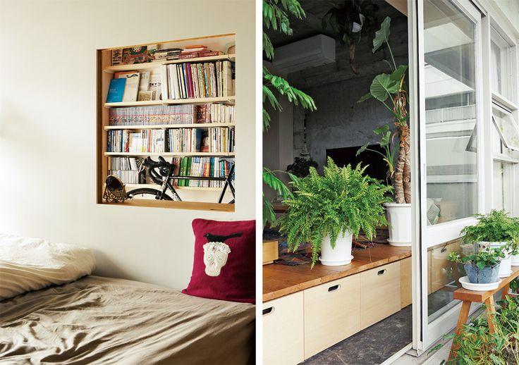 玄関から続く土間に寝室があり、20センチの段差を上がるとダイニングとキッチン。さらに15センチの段差を上がるとリビングと個室という3層で構成される間取り。62㎡の空間をワンルームとして使い、壁で仕切らず、床の高さを変えることで空間を切り分けている。