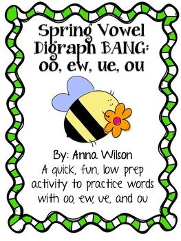 FREE vowel digraph oo, ew, ue, and ou BANG game