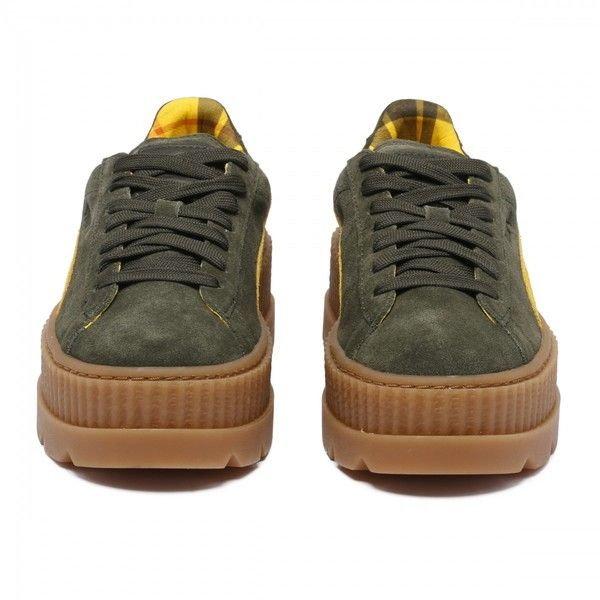Rosin and lemon fenty cleated suede creeper sneakers (€160) ❤ liked on Polyvore featuring shoes, sneakers, suede trainers, creeper sneakers, creeper shoes, suede sneakers and suede leather shoes