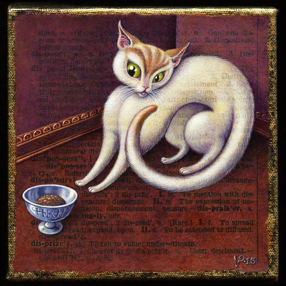 Disprize-- Finicky cat art- Original acrylic painting- Spoiled, pampered. grumpy cat- Letter D- White cat- Cat lover gift- A.Word.A.Day