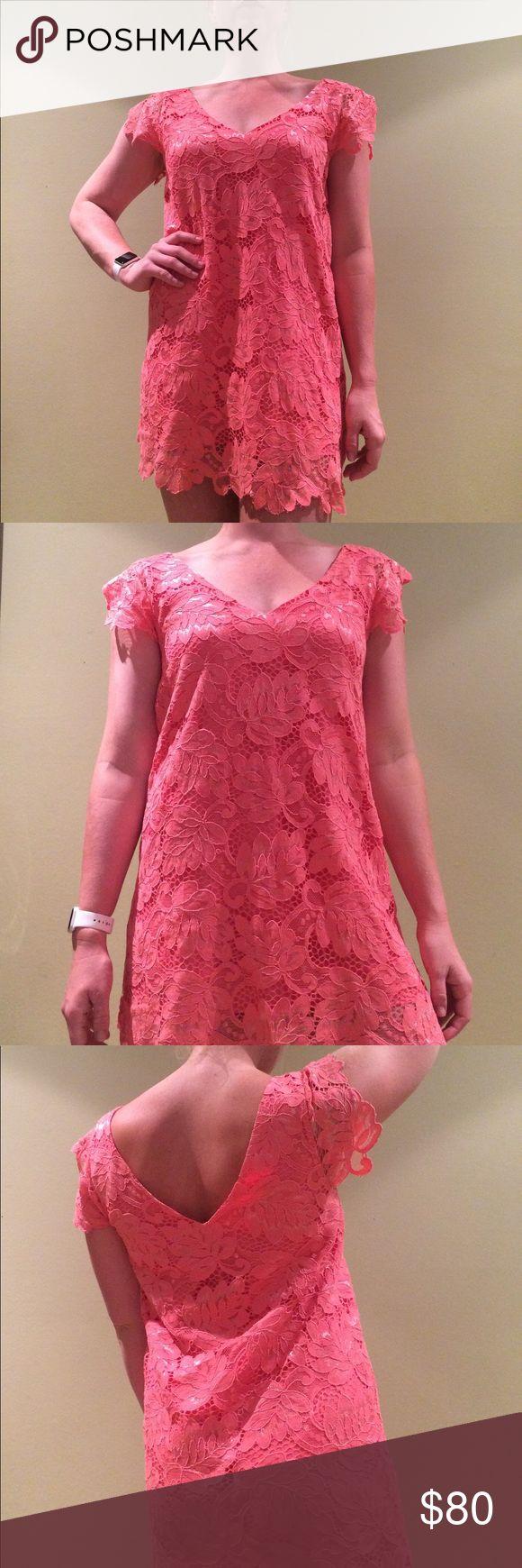 Coral lace dress Beautiful coral / pink dress - only worn once BB Dakota Dresses Mini