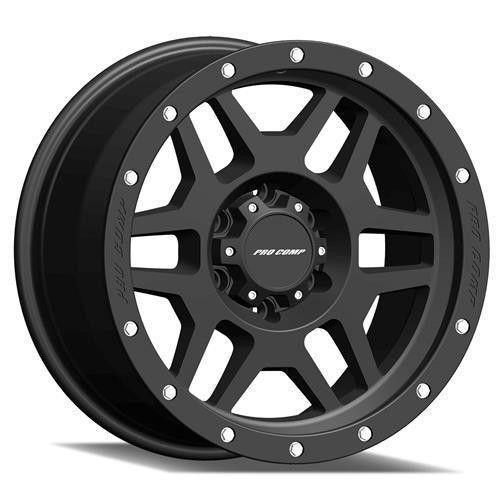 Series 41 Phaser 18x9 with 6 on 135 Bolt Pattern 5.5 Backspace Satin Black With Stainless Steel Bolts Finish Pro Comp Alloy Wheels