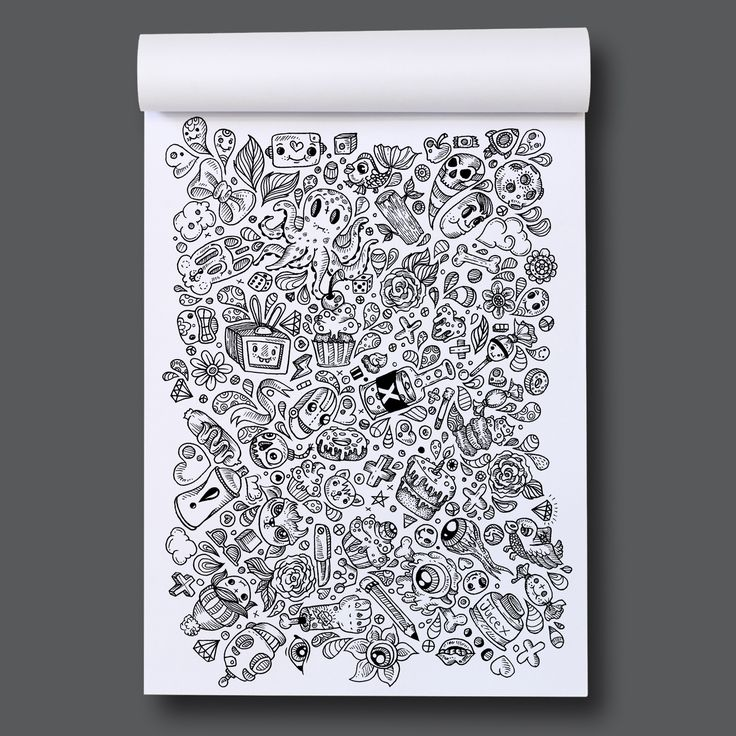 Page out of Eye-Scream Sunday A colouring book by Romzillustration.com Doodles
